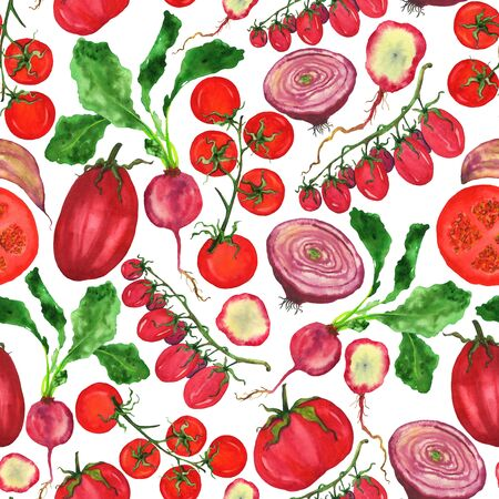 Fresh crop of red vegetables on a white background. Watercolor tomatoes and radishes in a seamless pattern.