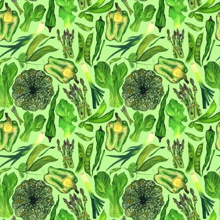 Harvest of fresh green vegetables on a light green background. Suitable for decorating textile decor.