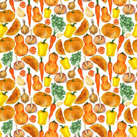 Bright juicy autumn harvest of vegetables. Yellow and orange vegetables in a seamless pattern with a white background.