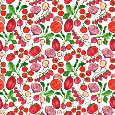 Tomatoes and cherry tomatoes with other red vegetables in the pattern. Autumn harvest on a white background. Watercolor hand illustration. Фото со стока