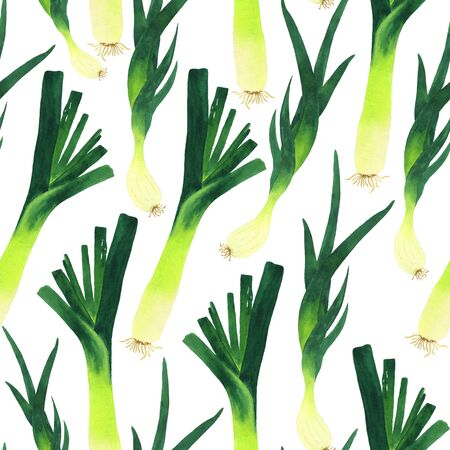 Pattern of green vegetables leeks and shallots. Watercolor endless illustration on a white background. Suitable for decorating home textiles, menus, cards and other DIY projects. Фото со стока