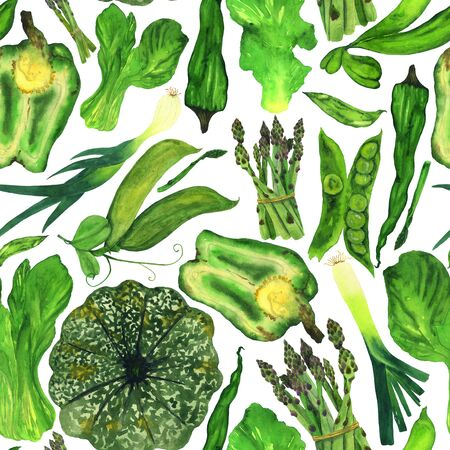 Autumn fresh harvest of green vegetables. Endless pattern of watercolor vegetables on a white background. Фото со стока