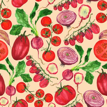 Endless pattern of a fresh crop of red vegetables: tomatoes, radishes and garlic. Watercolor illustration on a beige background. For the design of fabrics, postcards, menus, home decor and other DIY projects. Фото со стока