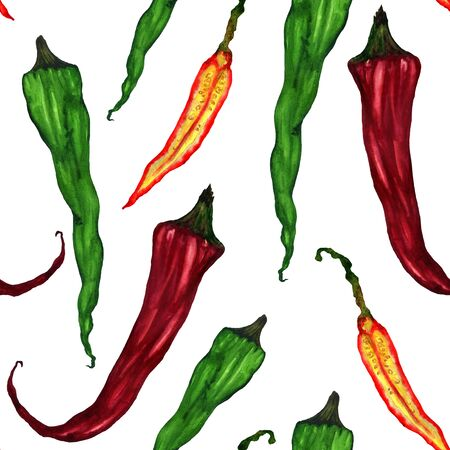 Green and red hot chili peppers. Watercolor vegetables in a pattern on a white background. Suitable for design and printing on fabric and paper.