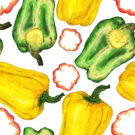 Bell pepper in watercolor on a white background. The manual illustration is endless. For the design of stationery, home textiles, clothing. Фото со стока