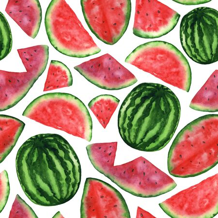 Watercolor watermelon pattern on a white background. Endless freehand illustration. For printing and design on paper and fabric. High resolution 300dpi. Фото со стока