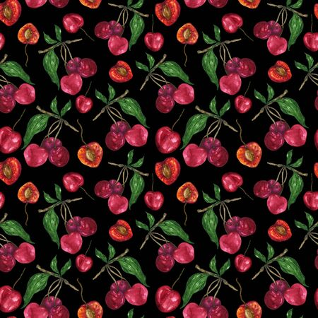 Watercolor cherry in a pattern on a black background. Manual illustration of sweet cherry slices and leaves. For the design of textiles, cards, stationery, napkins and more. Фото со стока