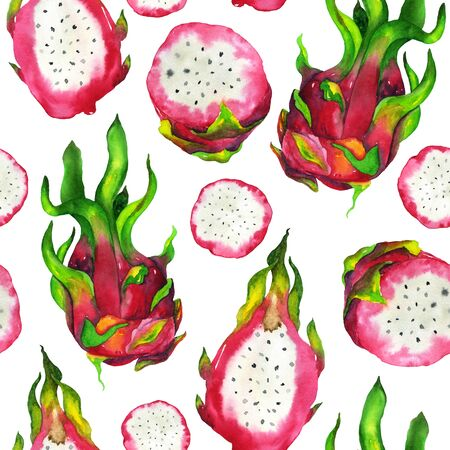 Watercolor dragon fruit in a pattern on a white background. Handmade illustration pitahaya seamless pattern. For printing on fabric, home decor, stationery design, greeting cards and more. Фото со стока