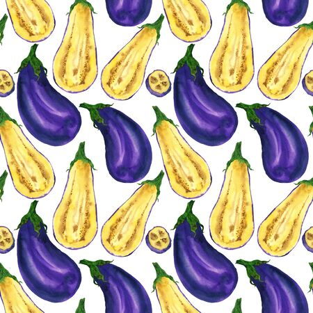 Watercolor eggplant in a pattern on a white background. Handmade illustration for the design of stationery, home textiles, napkins and other.