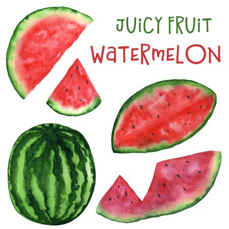 Watercolor watermelon and its parts isolated illustration on white background. Hand drawing of juicy fruit. For the design of home decor, stationary, t-shirts, cards.