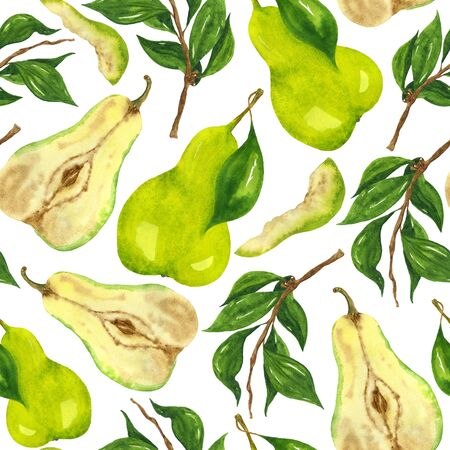Watercolor green pear seamless pattern. Hand drawing on a white background. For the design of notebooks, clothes, home textiles, stationery.