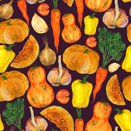 Watercolor vegetables orange color seamless pattern. Pumpkins, peppers, carrots handmade illustration on a purple background. For the design of stationery, clothing, home decor, napkins.