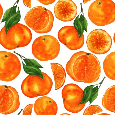Watercolor tangerines seamless pattern. Fruits and leaves hand-drawing on a white background. For the design of home decor, napkins, clothes, stationery.