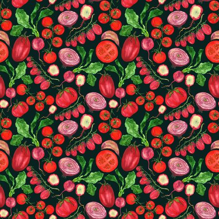 Watercolor red vegetables in a pattern on a black-green background. Handmade endless drawing of tomatoes onion radish. For printing cards, invitations, home decor, fabrics.
