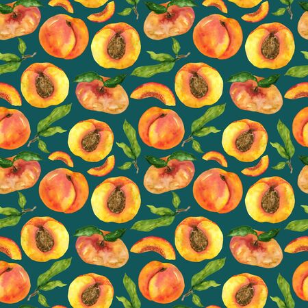 Watercolor peaches and fig peaches pattern on a turquoise background. Handmade endless drawing fruits and leaves. Design of cards, stationery, fabric, home decor.