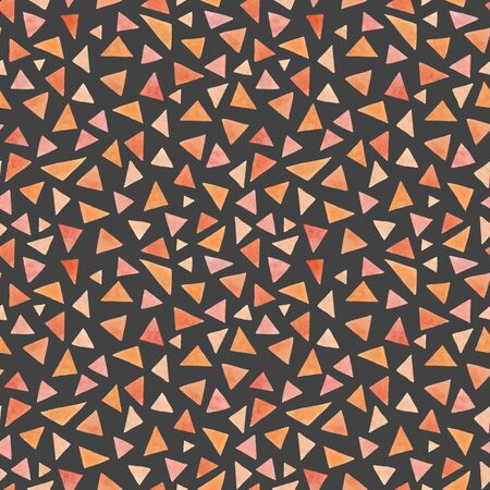 Watercolor peach triangles pattern on a gray background. Endless handmade geometric pattern. For the design of postcards, invitations, wrapping paper, fabric, textile, clothing. Фото со стока
