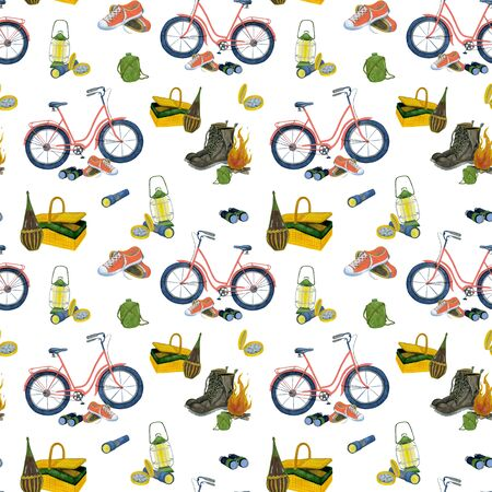 Watercolor pattern picnic camping by the fire. Hand drawing elements for cycling. For the design of gifts, stationery, bags. Stock Photo