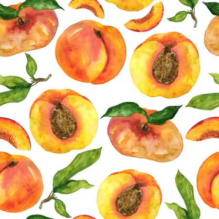Watercolor peach, nectarine, seamless pattern on a white background. Hand-drawn illustration of fig peach and leaves. For the design of home decor, napkins, textiles, clothes, notebooks.
