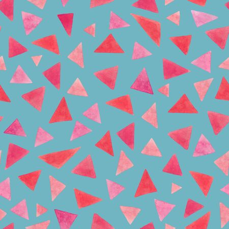 Bright pink watercolor triangles seamless pattern on a blue background. Suitable for the design of notebooks, cards, textiles, t-shirts, home decor, wrapping paper.
