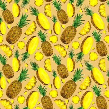 Watercolor pattern pineapples on a beige background. Seamless pattern of bright yellow fruits. For the design of textiles, clothing, notebooks. Фото со стока