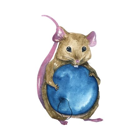 Watercolor illustration of a brown mouse with a blue Christmas ball. Isolated hand illustration on a white background. For printing postcards, print on t-shirts, notebooks, napkins and more. Фото со стока