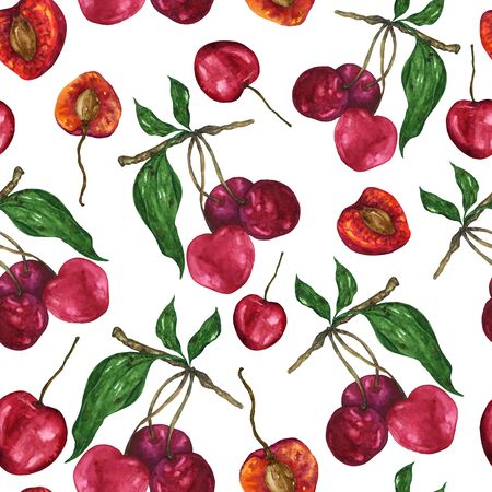 Watercolor cherry pattern on a white background. Endless pattern of red fruits. For the design of textiles, home decor, clothing, notebooks.