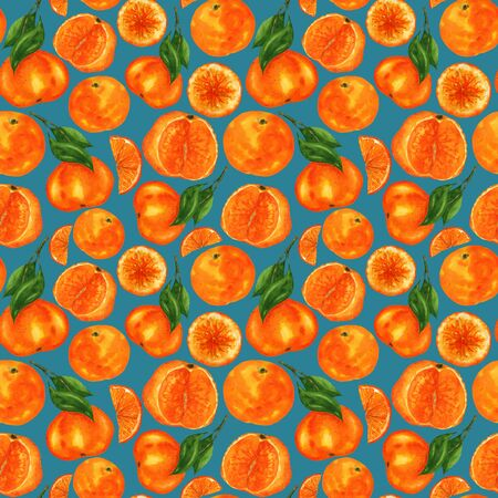Juicy tangerines pattern on a blue background. Endless illustration of orange fruits and green leaves. For the design of clothing, textiles, napkins, notebooks and more. 스톡 콘텐츠