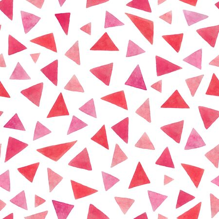Endless watercolor pink triangles pattern. Handmade seamless geometric illustration on a white background. For design of clothes, notebooks, decor and more. Фото со стока