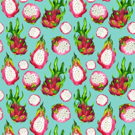 Dragon fruit watercolor pattern on a blue background. Seamless hand made pitahaya illustration. For fashion design, home decor, notebooks, cards.