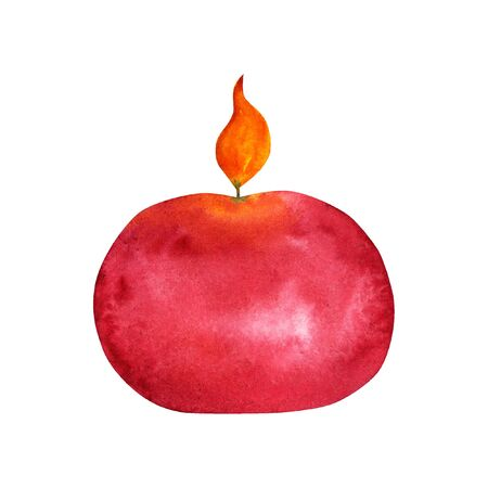 Burning red round candle watercolor isolated drawing. Illustration on a white background for design and print of cards, invitation, home decor.