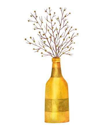 Golden vase bottle with dried decorative branches with golden balls. Watercolor drawing home decor. Isolated illustration. Фото со стока
