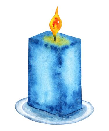Burning blue candle watercolor isolated drawing. Illustration on a white background for design and print of cards, invitation, home decor.