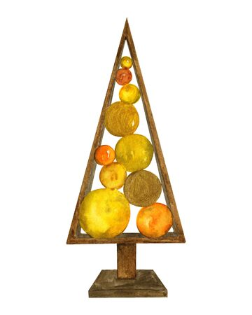 Decorative christmas decoration wooden figure of christmas tree with balls. Golden watercolor illustration on a white background. For printing cards, invitations, notebooks, t-shirts.