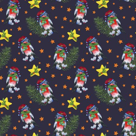 Seamless pattern bullfinch, stars and pine branch on a dark background. Watercolor hand drawing: new years night. For printing on fabric, napkins, postcards, invitations. Stock fotó