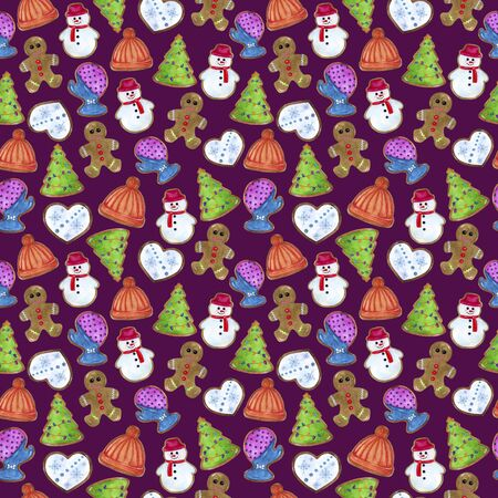 Watercolor drawing gingerbread cookie seamless pattern on a purple background. Hand illustration gingerbread man, Christmas tree, snowman, mittens, heart, hat.