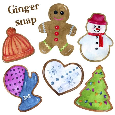 Set of watercolor illustrations of gingerbread cookies. Drawing of a gingerbread man, Christmas tree, mittens, snowman, heart and hat. Isolated illustration on a white background for creating cards and invitations. Imagens