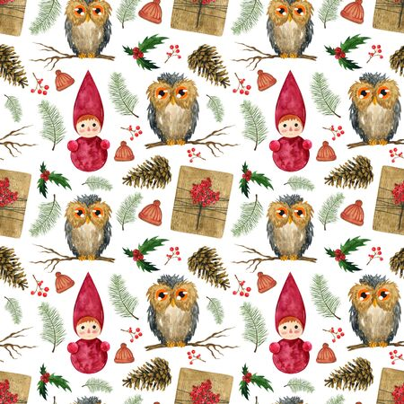 Christmas endless pattern of Christmas balls, owl, pine branches and cones. For printing fabric, wrapping paper, postcards.