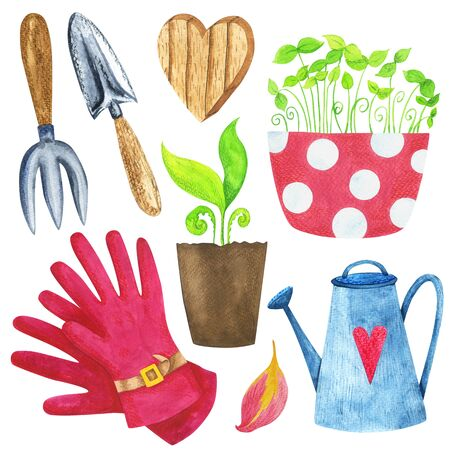 Gardening tools and seedlings watercolor set. Isolated illustration on a white background. To create compositions, cards, prints and decor.