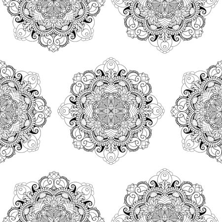 Black and white raster seamless mandala pattern. High quality suitable for printing in books and coloring books. Фото со стока