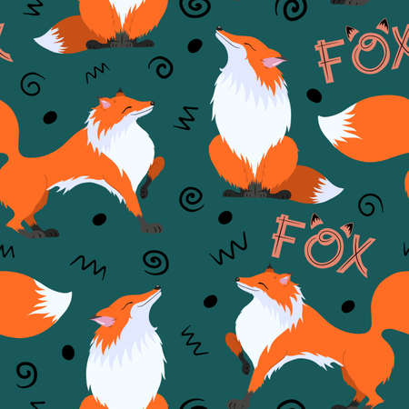 Cute red chanterelles on a green background. Raster graphic pattern: animals, lettering and elements. Suitable for printing fabrics, prints, cards, scrapbooking. 版權商用圖片