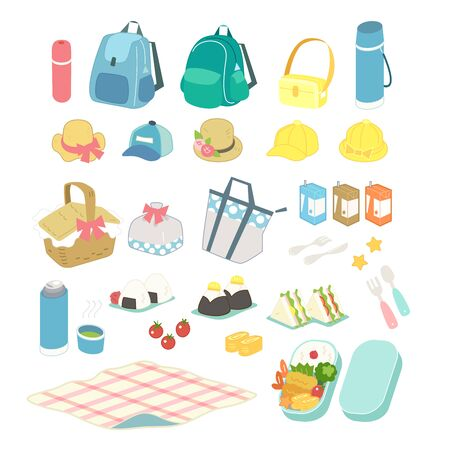 Set of elements for picnic with delicious food and drinks.