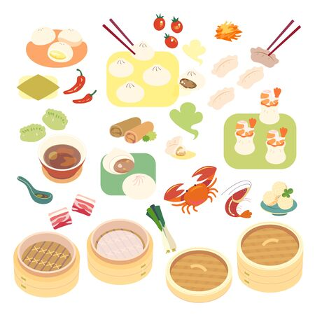 Chinese dessert and dumpling with bamboo steamers. Illustration