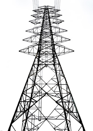High voltage tower on white background