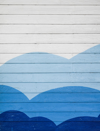 Wooden walls painted blue and white Banco de Imagens
