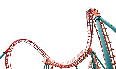 CARNAVAL: Roller coaster isolé sur fond blanc
