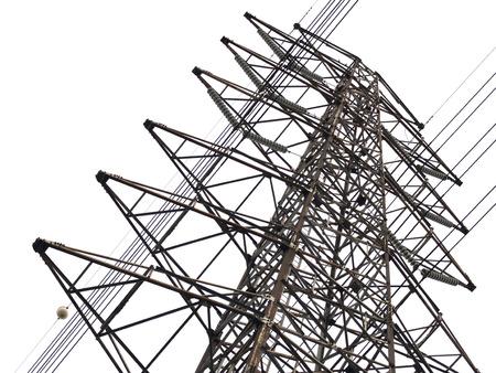 powerline: High voltage tower on white background