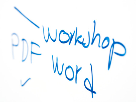 workshop hand- writing on whiteboard