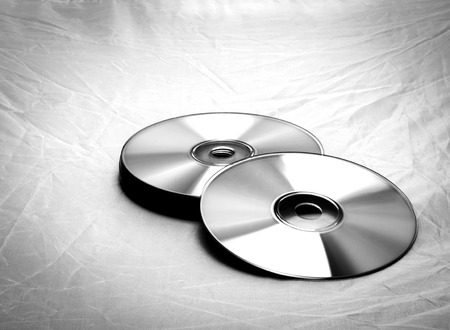 medium group of object: compact disc close-up black & white shot