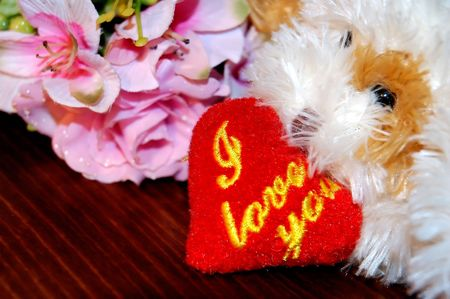 toy dog with a heart signed Stock Photo - 709484
