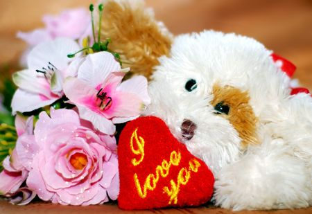 toy dog with heart photo